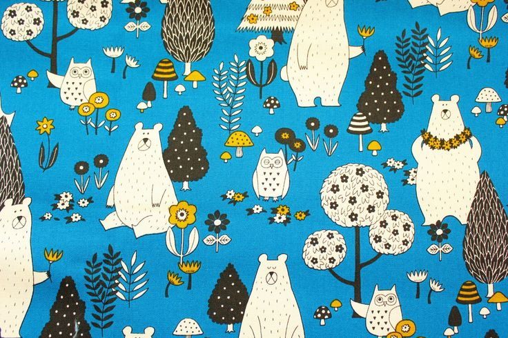 Cotton canvas fabric, Bear Fabric, Owl Fabric, Cotton Canvas, Cotton Duck, Buzoku, Japanes, Vintage Blue, Woodland Animals, Half Metre by TCRFabricStore on Etsy