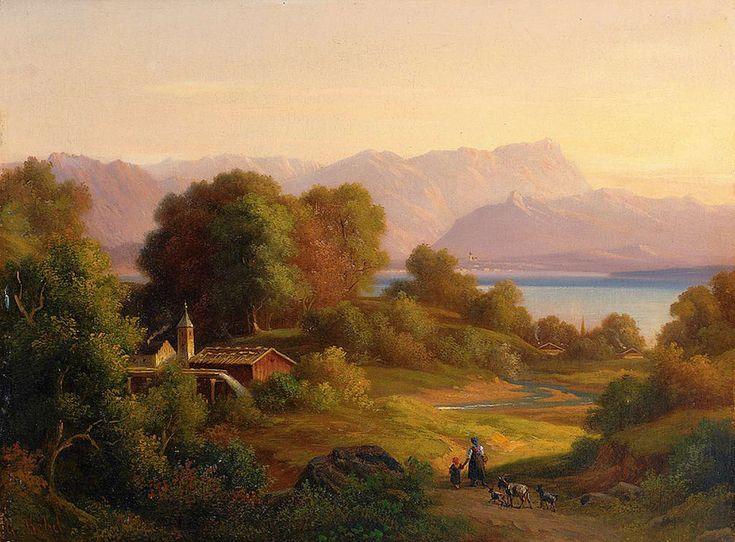 https://flic.kr/p/sGps7v | Georg Köbel - Alpine Landscape with Lake on a Summer Evening