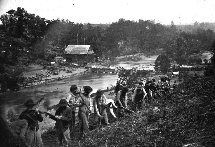 A party of the 50th New York Engineers builds a road on the south bank of the North Anna River, near Jericho Mills, Virginia, on May 24, 1864.: Civil Wars, Engineers Builds, York Engineers, Anna River, Jericho Mills, New York, Road