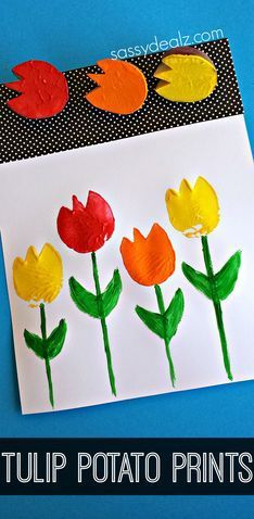 Tulip Potato Printing Craft for Kids - Great for Spring or Mother's Day craft ideas!