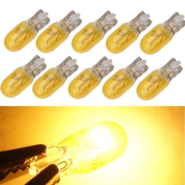T10 Halogen Car Yellow Lamps 168 194 w5w Turn Side License Plate Light Car Parking Dome Reading Interior Lamp 10PCS Yellow T10 W5W Halogen bulb