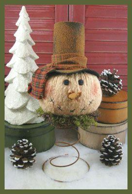 how to make a paper mache snowman head tree topper