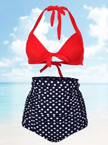 Fashion White Dot Splicing Swimwear