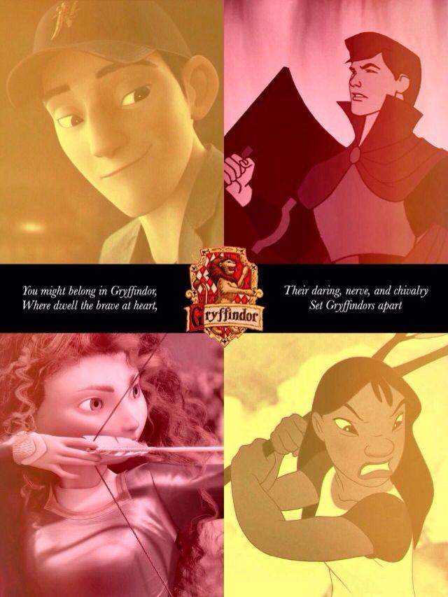 Disney in Hogwarts Houses