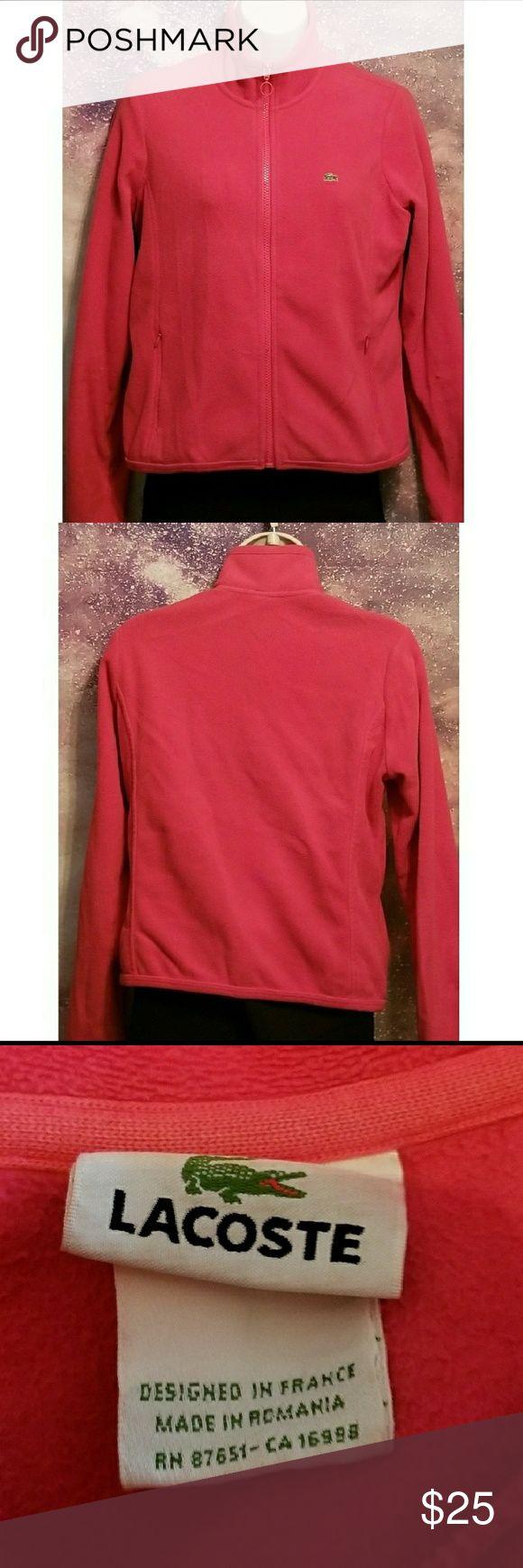 Lacoste Pink Fleece Zip Up Jacket Size 40/Large excellent condition Lacoste Jackets & Coats