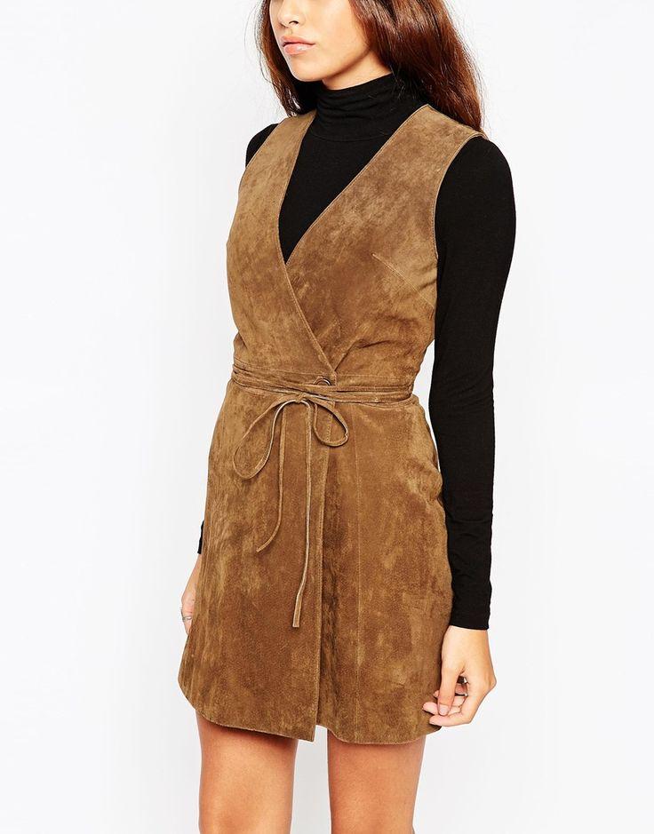 Image 3 ofASOS PETITE Wrap Front Dress in Suede