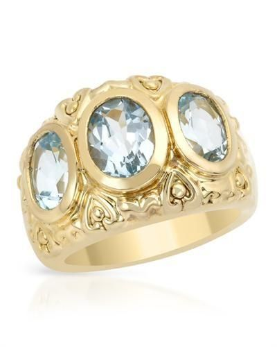 Gorgeous Ring With Genuine Topazes - Size 7  Attractive ring with genuine topazes well made in 14K gold plated 925 silver. Total item weight 7.0g. Gemstone info: 3 topazes, 5.10ctw., oval shape and blue color.