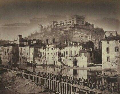 Verona 1856 - l'Adige con Castel San Pietro - M.Lotze