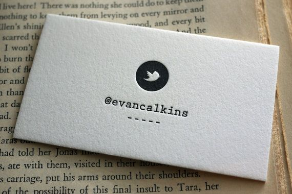Twitter letterpress business cards