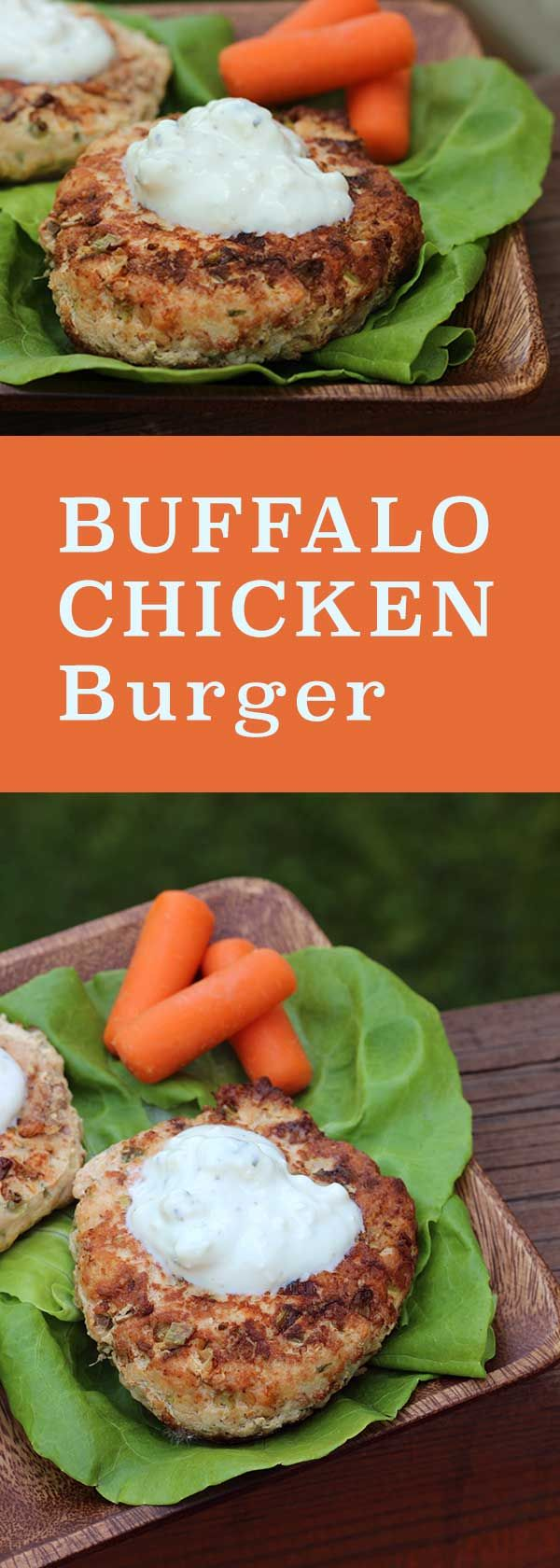 Buffalo Chicken Burger - wrapped in lettuce to make it low-carb | diabeticfoodie.com