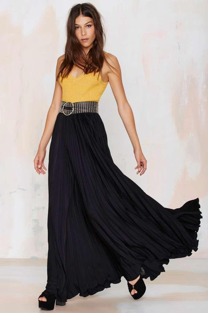 Great Lengths Pleated Maxi Skirt