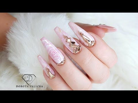 blush pink and rose gold marble nails nail art trends