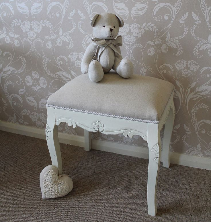 Country cream dressing table stool vintage french seat shabby bedroom chic £65
