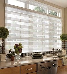Zebra Light Filtering and Room Darkening Sheer Roller Shades | BlindsShopper.com. Zebra Sheer Roller Shades feature dual layers of alternating sheer and solid horizontal fabrics. By varying the alignment of the solid or sheer portion of the fabrics, you can have complete control over your privacy, view out and incoming light levels. Dining room??