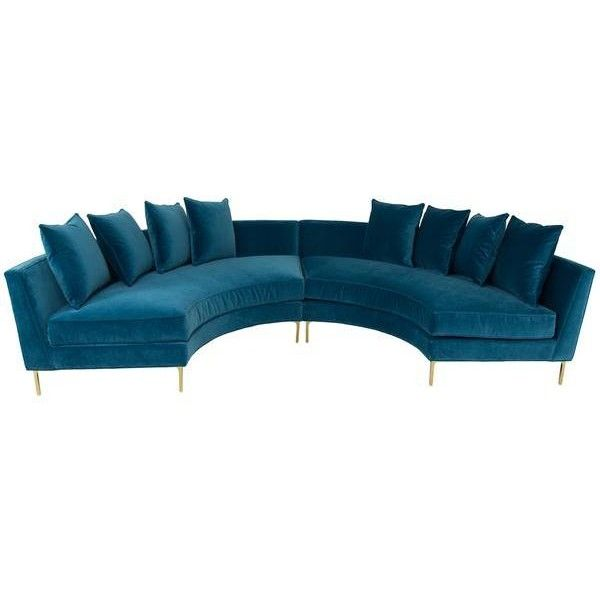Sardinia Sectional In Como Cyan Velvet (7,205 CAD) ❤ Liked On Polyvore  Featuring Home · Circular CouchCircle SofaRound CouchHalf ...