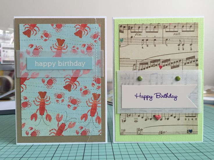 Lobster & musical birthday cards