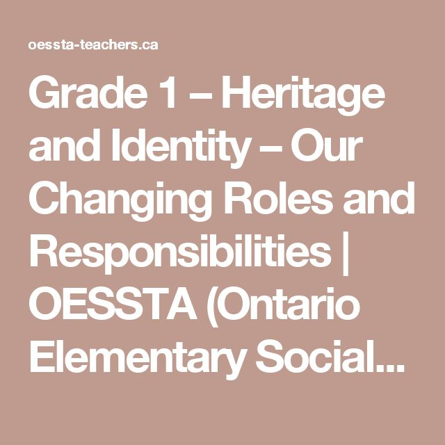 Grade 1 – Heritage and Identity – Our Changing Roles and Responsibilities   OESSTA (Ontario Elementary Social Studies Teachers Association)