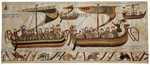 Navigio from The Bayeux Tapestry shows four ships of the Norman armada. Today woven in Belgium in three sizes.