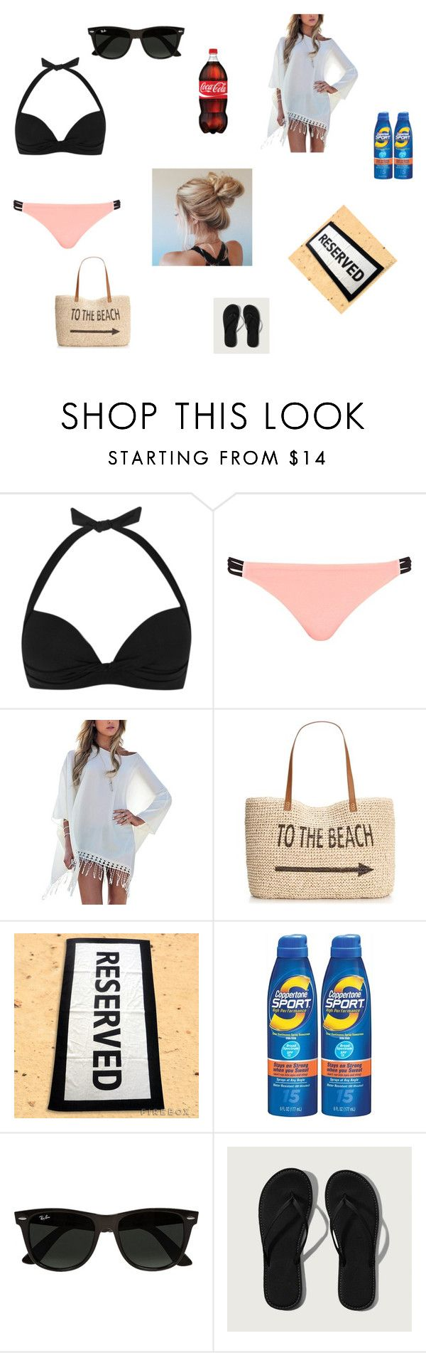 """""""•ShoutOut Swimming Day•"""" by ladzip13 ❤ liked on Polyvore featuring JETS, River Island, Style & Co., Coppertone, Ray-Ban and Abercrombie & Fitch"""