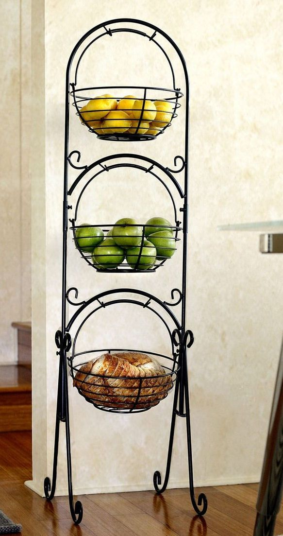 Scroll 3 Tier Versatile Floor Basket Stand Can Be Used In Any Room Of The Hous Tier Floor Baskets Fruit Stands Tiered Fruit Basket