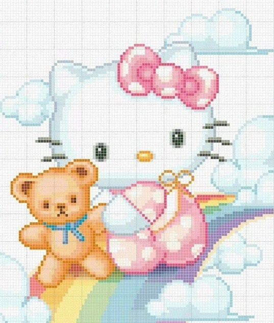 Hello Kitty Free Cross Stitch Chart Needlepoint Pattern