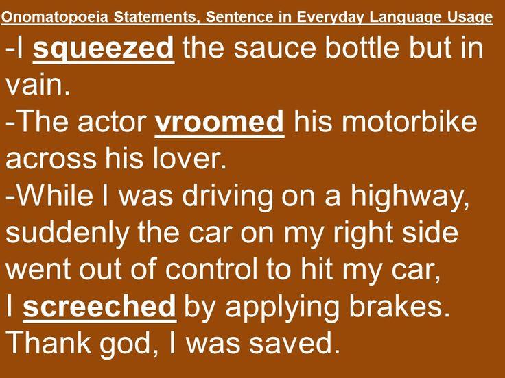 Onomatopoeia Sentences, Statements Examples Ideas for writing - method statements examples