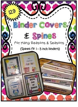 Time to get organized! This zip file contains 129 various binder covers and spines {to fit 1 to 3 inch binders} in different themes and topics ~ choose binder covers that meet your classroom's needs. Below are the titles of the binder covers and spines included in this pack:1.100th day of school2.120th day of school {common core}3.Accelerated Reader Resources4.Addition5.Apples {all about apples}6.Animals all around7.April resources8.August resources9.Back to school10.Balance, force, and…