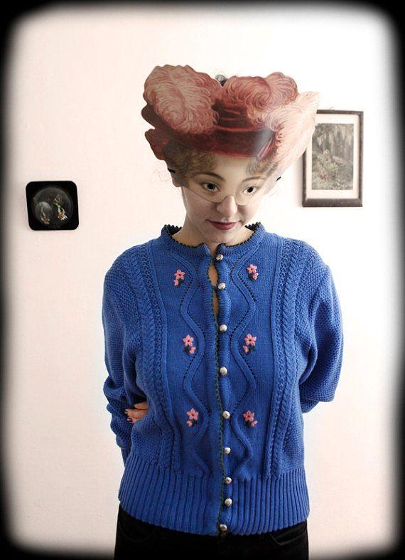 Austrian Tyrol Vintage Wool Cardigan Blue by ManonLauraVintage, ?35.00 Vint...