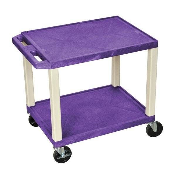 Purple Shelves Nickel Legs Teacher Rolling Cart Office Storage Multipurpose Cart