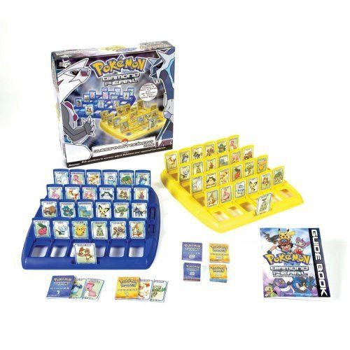 Guess That Pokémon Game features diamond and pearl Pokémon. Ask questions to uncover which Pokémon your opponent has chosen. This game includes a bonus set of twenty-four additional Pokémon. It includ