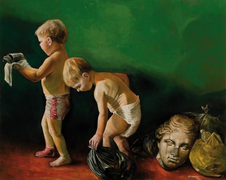 campania felix oil on canvas - cm 80x100
