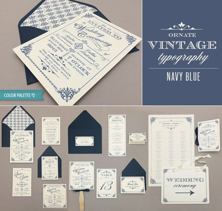 what to include in diy wedding invitations%0A DIY Ornate Vintage wedding invitation collection in navy blue  includes     printable pieces  From