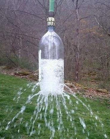 Cool the kids off this summer with a homemade sprinkler.  Take a 2 liter soda bottle, poke holes in it. Attach to a garden hose via a male to male adapter. Toss over a tree branch and let hang. {~FunIdea: Hang Over SwingSet!}