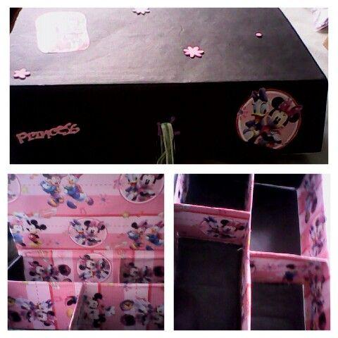 Organizador hecho de caja perfecto para guardar maquillaje o varias cosas para que no esten al alcance de niños