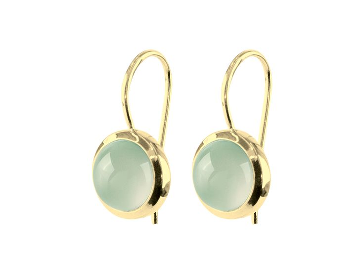 LIEPA-GOLD Drop earrings created with cabochon cut gem-stone