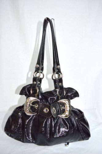 Kathy Van Zeeland Black Faux Patent Leather Handbag Silver Buckle Purse Kvz Ebay