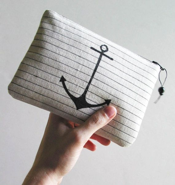 handmade nautical clutch purse with anchor - great bridesmaids gift idea for a nautical #wedding