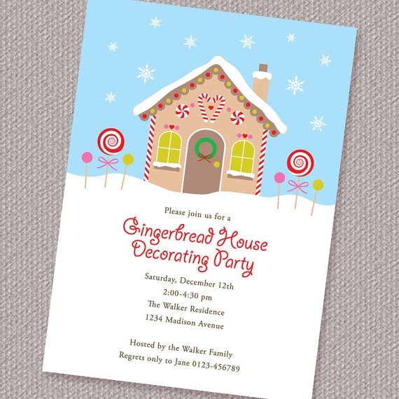 Search results for printable gingerbread houses Gingerbread house decorating party invitations