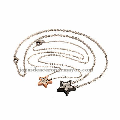 Collar de estrella para parejas de acero inoxidable ,SSNEG541458