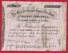 SHARE CERTIFICATE | The West Par Consols Copper & Tin Mines - ONE Share - St Blazey, Cornwall, 1850s.     ✫ღ⊰n