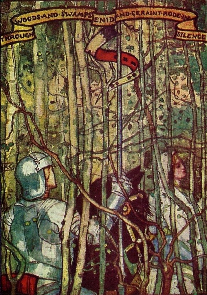 Katharine Cameron ~ Geraint and Enid ~ Stories of King Arthur's Knights ~ 1907 ~  Through Woods and Swamps Enid and Geraint Rode in Silence