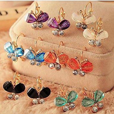 ultrafijne fluorescerende vlinder diamanten oorbellen – EUR € 3.99