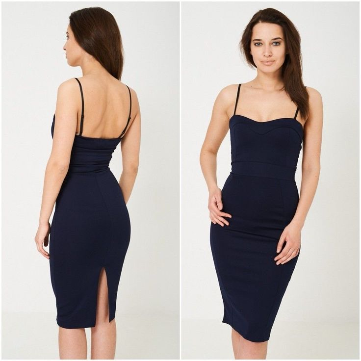 Womens Ladies Strappy Bodycon Pencil Wiggle Dress Pin Up Navy Uk 8 10 12 14 NEW