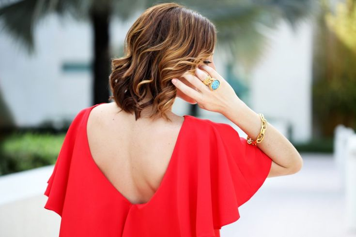 Blame it on Mei Miami Fashion Blogger 2016 Spring Outfit Idea Look Open Back Dress Ruffles Embroidered Canvas Clutch Rocksbox Pendant Turquoise Necklace YSL Turquoise Arty Ring Dress with Frills