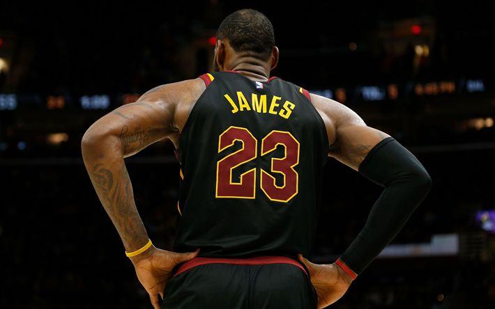 Download wallpapers LeBron James, NBA, T-shirt, American basketball player, Cleveland Cavaliers, USA, basketball