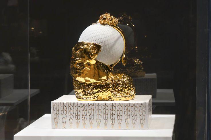 Arlene Shechet, The Golden Idol, 2012. Glazed Meissen porcelain, gold. 14.15 x 12 x 8.5 inches