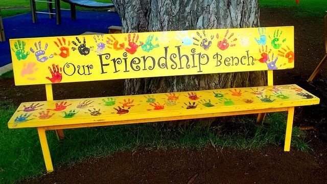 FRIENDSHIP BENCH handprints or fingerprints of those who helped at Garden Day …