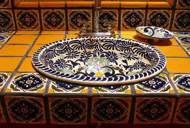 Talavera Tile Powder Room | Indeed Decor. Beautiful!