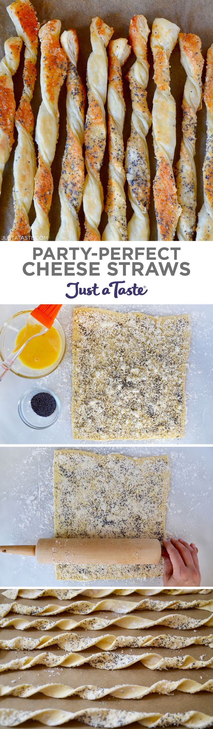 Party-Perfect Cheese Straws Up your appetizer or snack game with this quick and easy recipe for Party-Perfect Cheese Straws studded with poppy seeds.