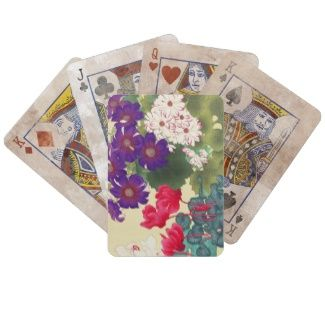Classic japanese vintage watercolor flowers art bicycle card decks